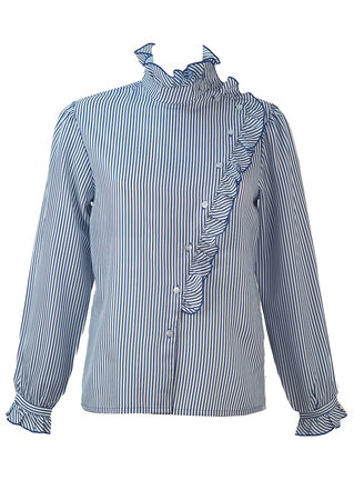 Blue & White Striped Blouse with Asymmetric Frill Detail - M