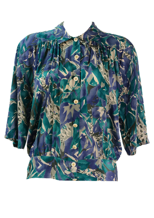 Short Sleeved Teal, Purple & Cream Floral Print Blouse - XL
