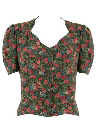 1940's Style, Silk Short Sleeved Blouse with Pink Floral Ditsy Print - M