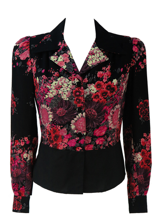 Vintage 1970's Pink & Black Floral Structured Blouse - M