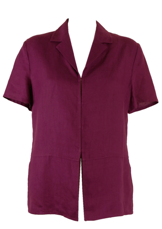 Purple Utilitarian Style Top in Linen - L