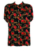 Semi-Sheer Oversize Black Short Sleeve Blouse with Red Rose Print - M/L