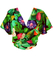 Tie Front Multicoloured Tropical Print Short Sleeved Top - S/M