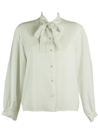Vintage 1960's White Pussy Bow Blouse with Cut Away Detail - L/XL