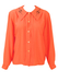 Peach Long Sleeved Blouse with Black Flock Collar Detail - L