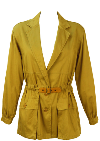 Lightweight Cotton Safari Style Jacket in Khaki with Belt Detail - S/M