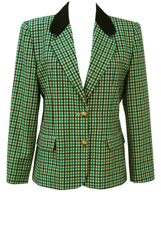 Lightweight Wool Jacket with a Green, Black & Cream Check Pattern - M