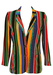 100% Silk, Multicoloured Striped Jacket with Floral Ditsy Print Detail - S/M
