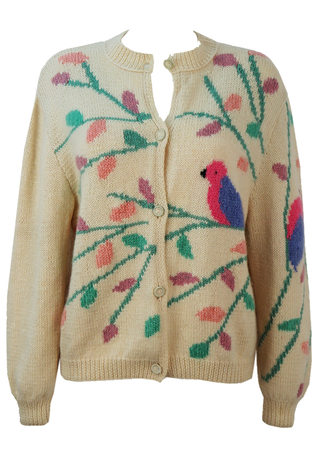 Cream Knitted Cardigan with Bird & Branch Pictorial Design - M
