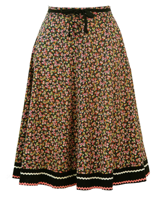 Ditsy Floral Print, Knee Length Circle Skirt in Pink, Green and Black - S/M