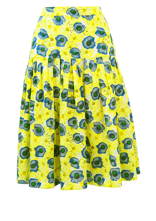 Yellow & Blue Floral Patterned Full Knee Length Skirt - S/M
