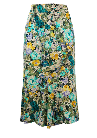 Midi Length Floral Patterned Bias Cut Skirt in Blue, Yellow & Lilac - S/M
