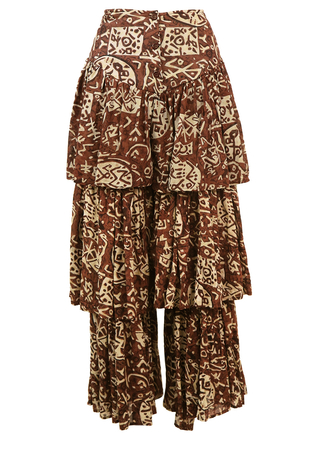 Tiered Long Length Culottes with a Batik Style Brown & White Pattern - XS/S