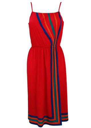 'Triumph' Red Polka Dot & Striped Midi Strap Dress - S/M