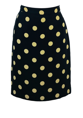Navy Blue Knee Length Skirt with Large Cream Polka Dots - M