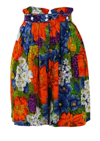 Multi Coloured Floral Print, Mini Length Culottes - S