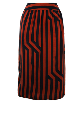 100% Silk, Russet & Black Geometric Striped Skirt - S/M