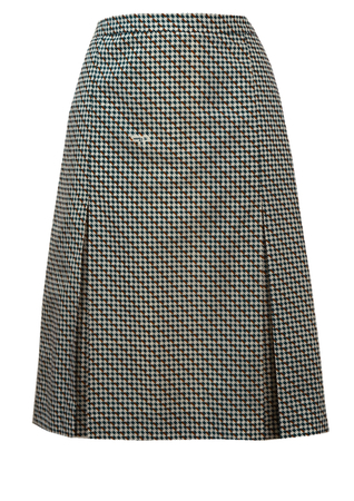 Vintage 1960's Blue & White Houndstooth Check Knee Length Skirt - L