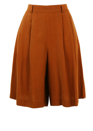 Brown Pleated Knee Length Culottes - S/M