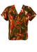 Orange & Brown Tropical Floral Print Buttoned Top - M