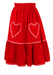 Red Midi Skirt with Love Heart Pockets and Frill Trim - S/M