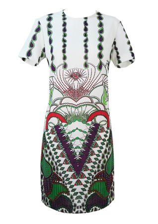 Vintage 1960's White Shift Dress with Multicoloured Paisley Pattern - M/L