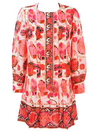 Vintage 1960's Pink, Orange & White Floral Mini Dress - M/L