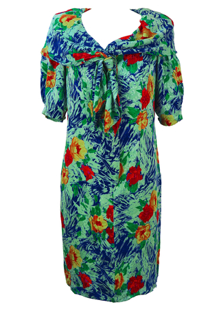 Floral Print Silk Short Sleeved Dress with Shawl Collar - M