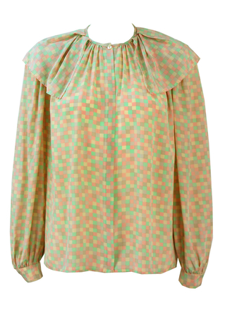 Silk Blouse with a Pastel Square Print & Layered Collar - M/L