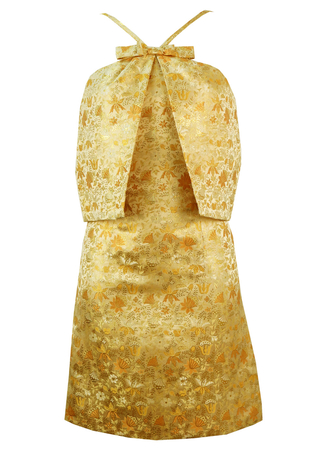Vintage 1960's Cocktail Dress with Metallic Gold Floral Print - S