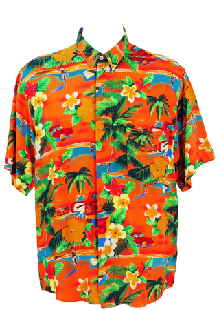 Orange & Green Hawaiian Pictorial Shirt - L/XL