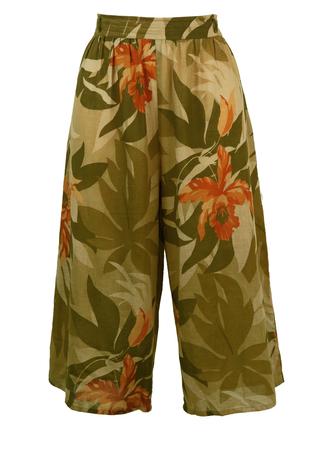 Khaki Tropical Print Midi Length Culottes - S/M
