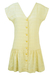 Cream Short Sleeved Mini Dress with Textured Stripes - M
