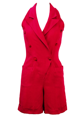 100% Linen, Hot Pink Halterneck Playsuit - S