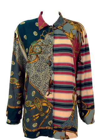 Long Sleeved Blouse with Equestrian/Polo Themed Pattern - L/XL