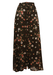 Maxi Skirt with a Brown and Orange Floral Print - S