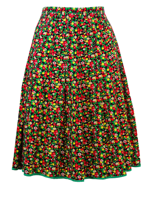 Red, Green & Yellow Ditsy Floral Print Knee Length Skirt - S/M