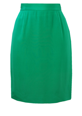 Pierre Cardin Jade Green Silk Mini Pencil Skirt - S