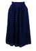 Max Mara Blue & Black Gingham Check, Linen Midi Skirt - S/M