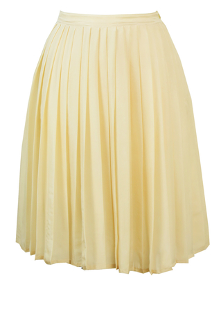Silk Pleated Cream Mini Skirt - S