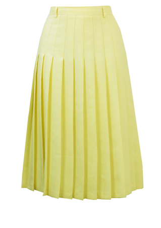 Midi Length Light Lemon Pleated Skirt with Fine White check - M