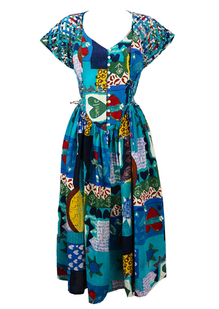 Blue, Red & Green Patchwork Style Midi Dress with Lattice Sleeves - M