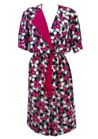 Vintage 1980's Pink, Black & White Floral Patterned Midi Dress - M