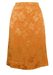 Peach Knee Length Skirt with a Two Tone Floral Pattern - M