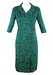 Vintage 1960's Dress with Navy, Green & White Pattern - L/XL