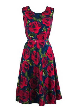 Pink & Navy Rose Print Two Piece Sleeveless Top & Circle Skirt - S/M