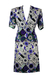 Blue & White Floral Print Silk Two Piece Jacket & Knee Length Skirt – S/M