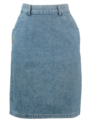 High Waisted Blue Denim Pencil Skirt with Floral Embroidery - S