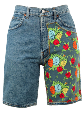 Denim Shorts with Floral Embroidery Detail - S
