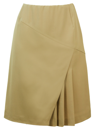 Vintage 1960's Knee Length Taupe Skirt with Asymmetric Pleat Design - S